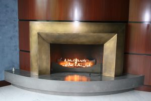 Custom Made Brass Fire Place Surround Acid Treated For Color.  Custom Made Fire Place Burners With Safety valve