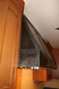 Copper Hood With Steel Strapping and Darkened Copper