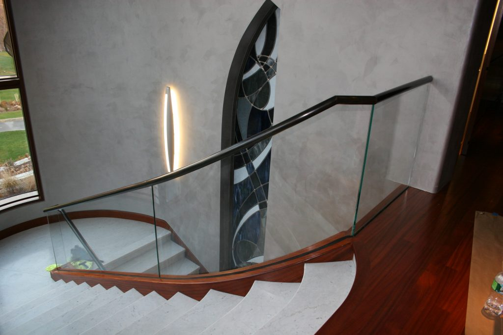Glass and Brass Hand Rail with Custom Made Base Shoe