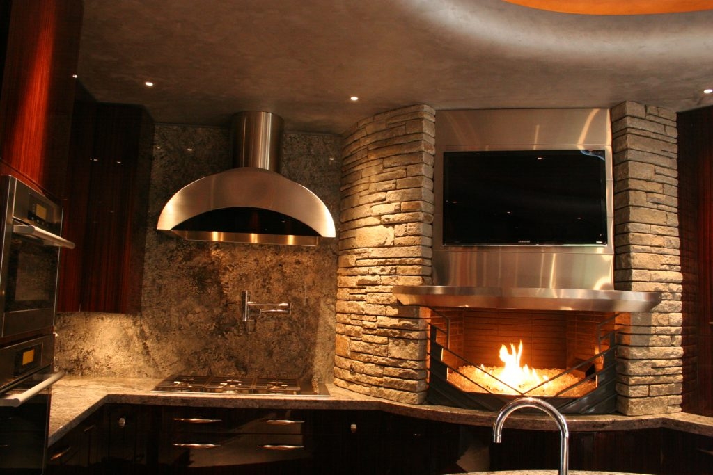 This is a Custom Hood and Fireplace